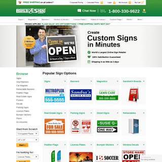 ArchiveBay.com - buildasign.com - Custom Signs, Banners, Flags - 20- OFF + FREE Shipping