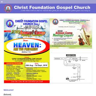Home - Christ Foundation Gospel Church (Inc.)