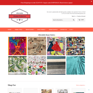 Affordable Home Fabrics-Upholstery, Designer Prints, Outdoor Fabric