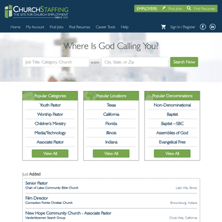 Resource for church jobs, pastor search, and ministry employment - ChurchStaffing.com
