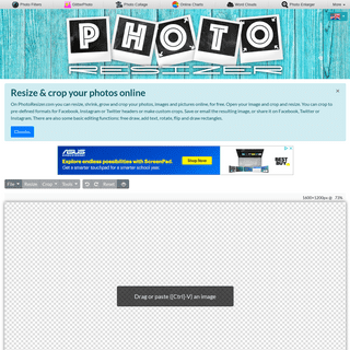 Resize and crop photos, images and pictures online