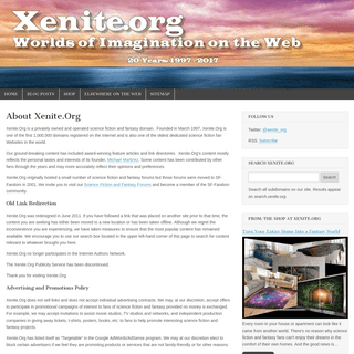About Xenite.Org - Science Fiction and Fantasy - Xenite.Org