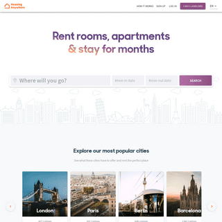 HousingAnywhere- Mid to Long-Term Rentals in 400+ cities