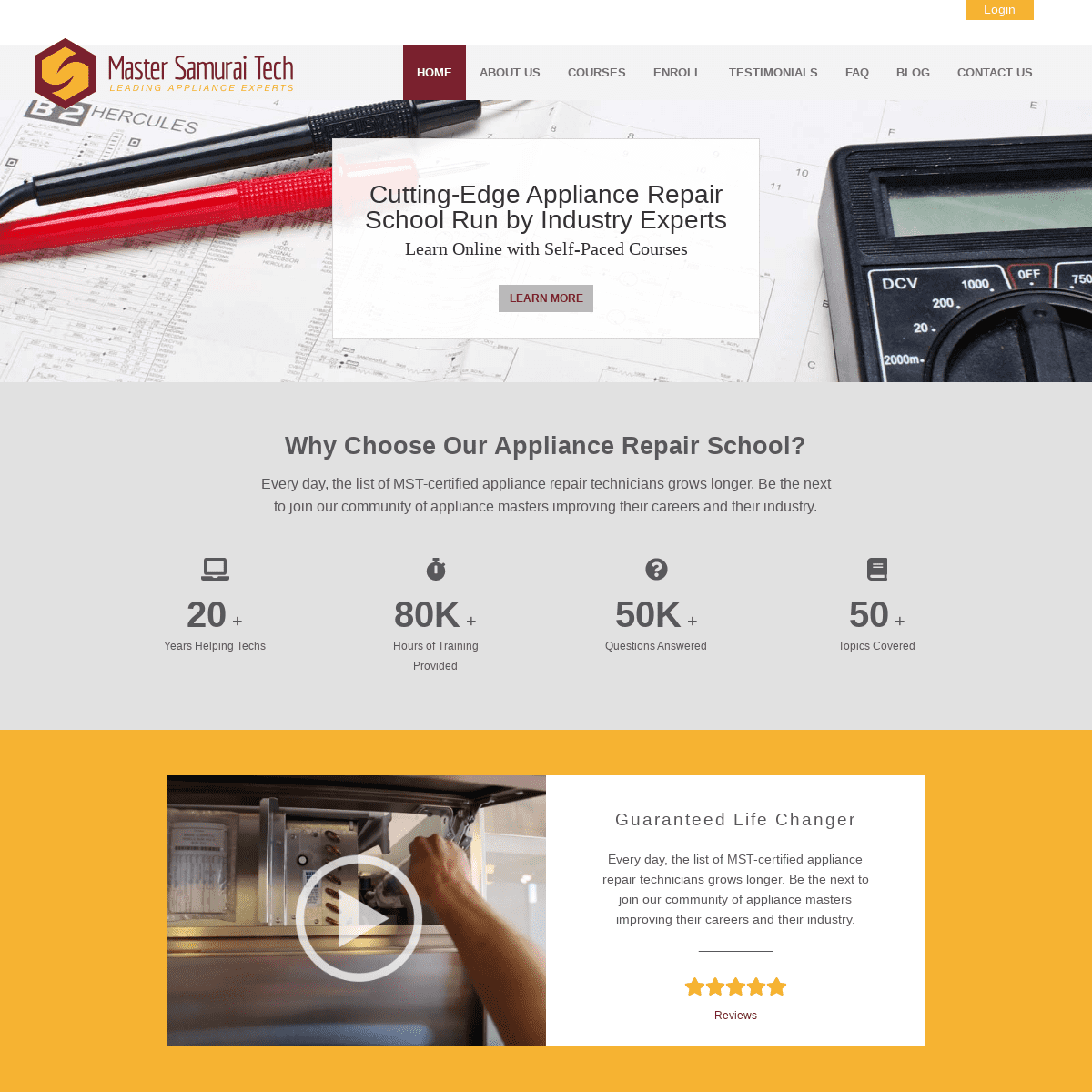 Appliance Repair School- Learn More, Earn More - Master Samurai Tech