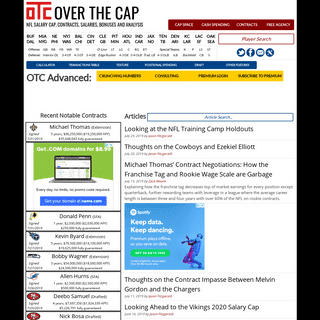 Over the Cap - NFL Salary Cap, Contracts, Salaries, Bonuses and Analysis
