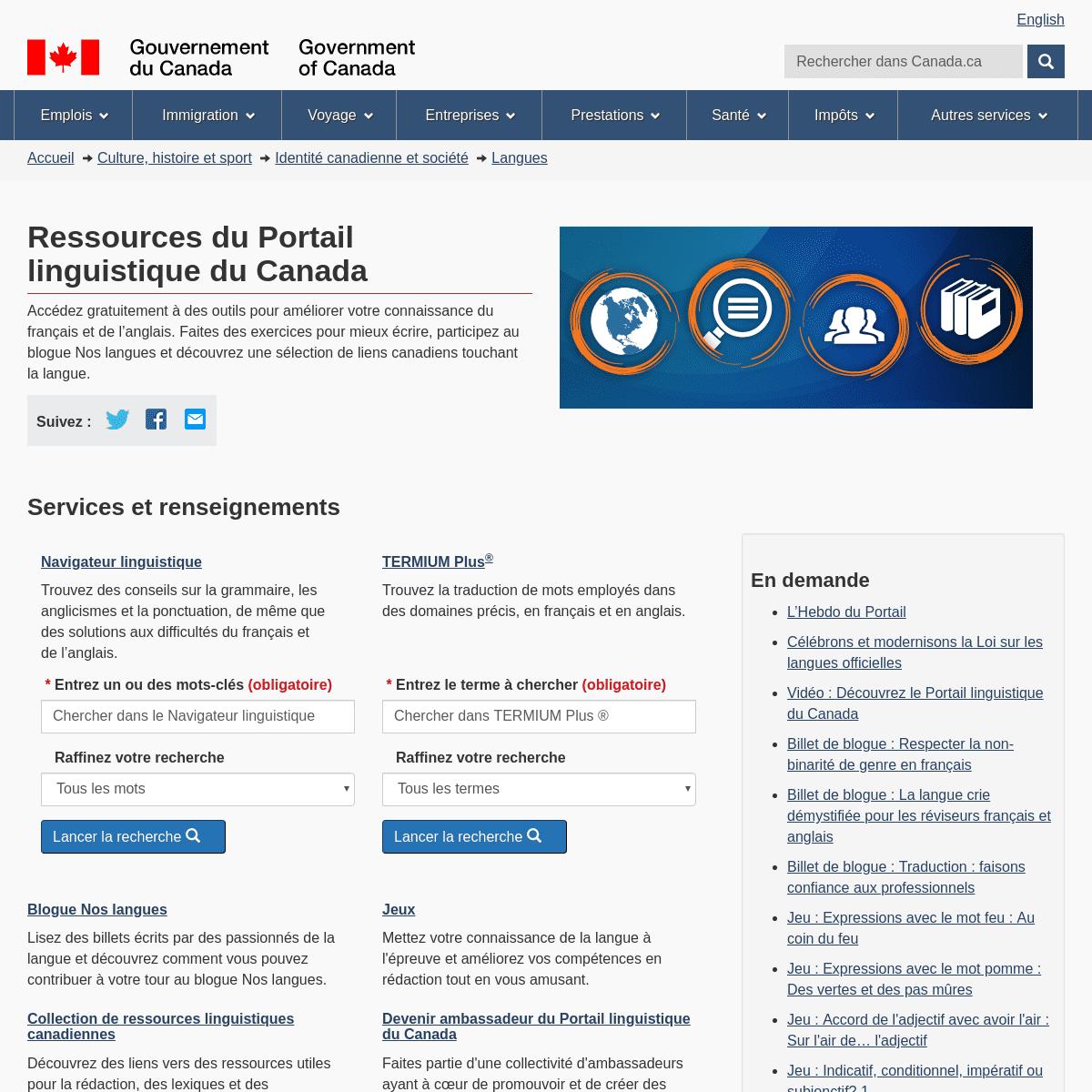 Ressources du Portail linguistique du Canada – Langues – Identité canadienne et société – Culture, histoire et sport �