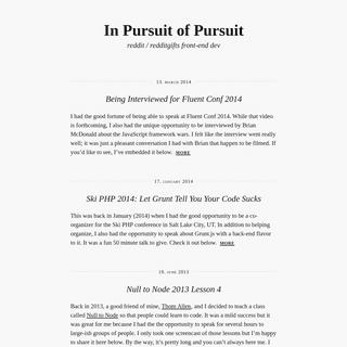 In Pursuit of Pursuit