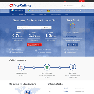 International calls, calling plans & mobile recharges - KeepCalling