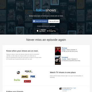 Watch TV shows and know when your shows are next - followshows
