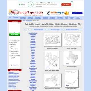 Free Printable Maps - World, USA, State, City, County