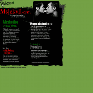 ArchiveBay.com - msjekyll.com - About Absinthe, Absinthe Art, Poetry and Magic - Welcome to MsJekyll!