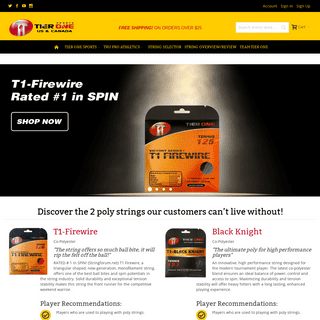 Tier One Sports USA-CANADA Tier One Sports USA-Canada Performance Tennis Strings