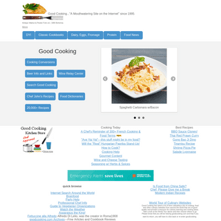 Good Cooking serves gourmet cooking help with the best recipes and cooking conversions.