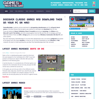 GamesNostalgia - Retrogames, abandonware, freeware and classic games download for PC and Mac