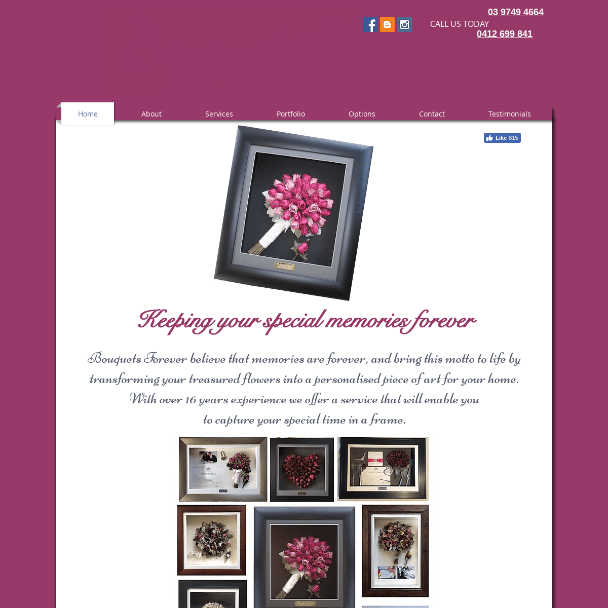 Bouquets Forever - Dried and framed floral arrangements