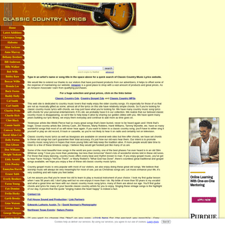 Classic Country Music Lyrics - Guitar Chords with Lyrics