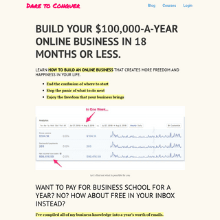 BUILD YOUR $100,000-A-YEAR ONLINE BUSINESS IN 18 MONTHS OR LESS.