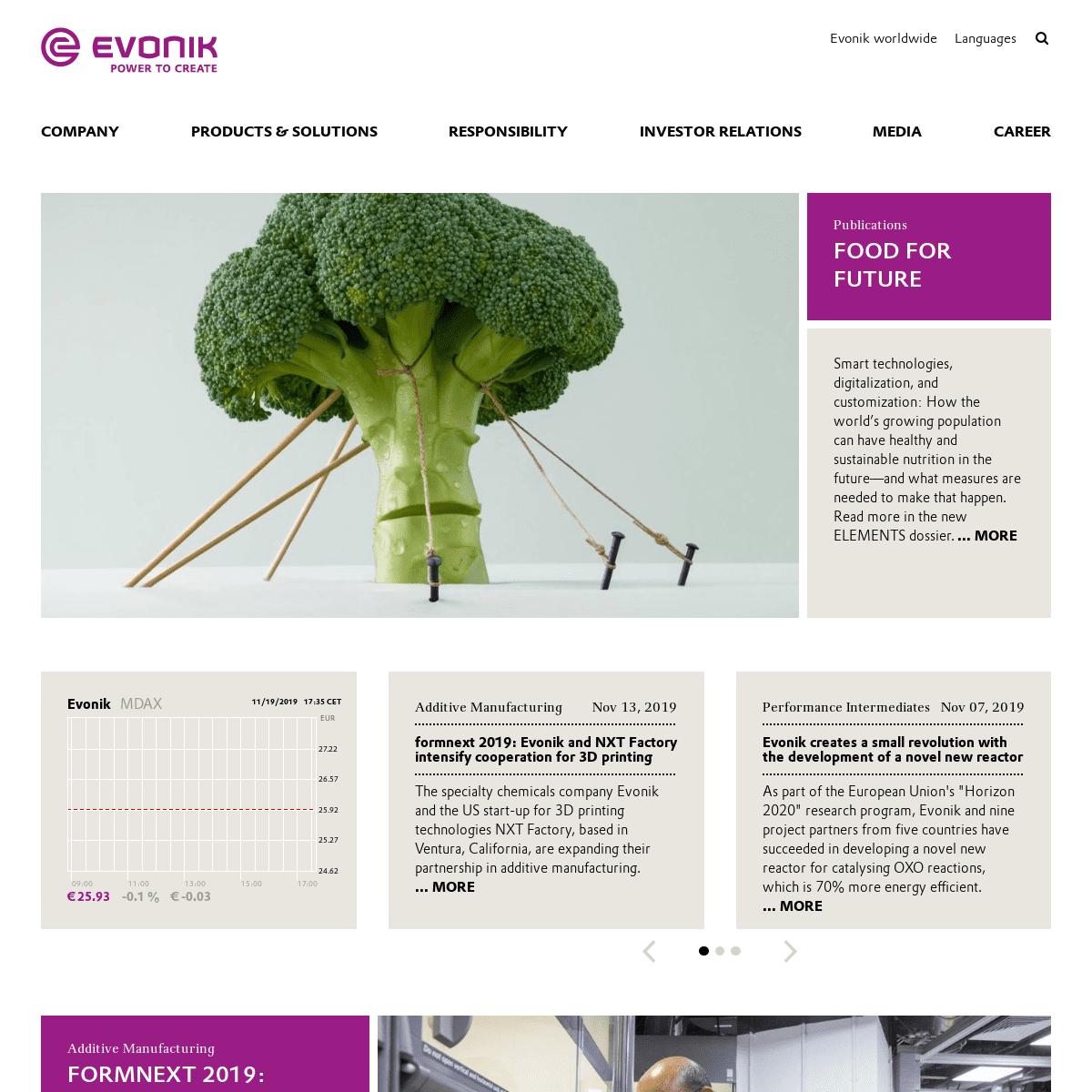 Evonik Industries - Specialty Chemicals