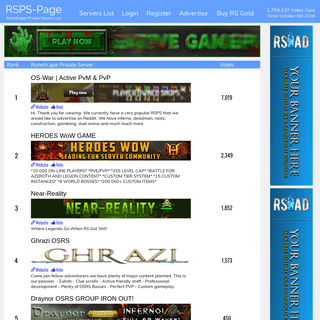 RuneScape Private Servers- RSPS-Page the Definitive Toplist