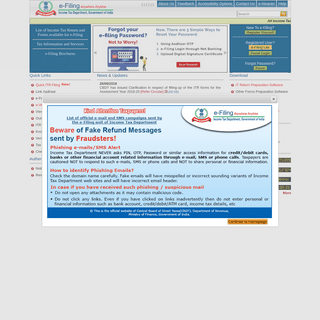 e-Filing Home Page, Income Tax Department, Government of India