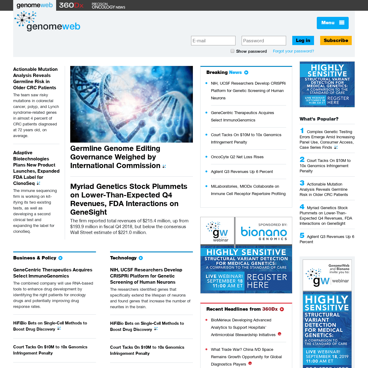 ArchiveBay.com - genomeweb.com - Genetics, Genomics & Molecular Diagnostics News by GenomeWeb