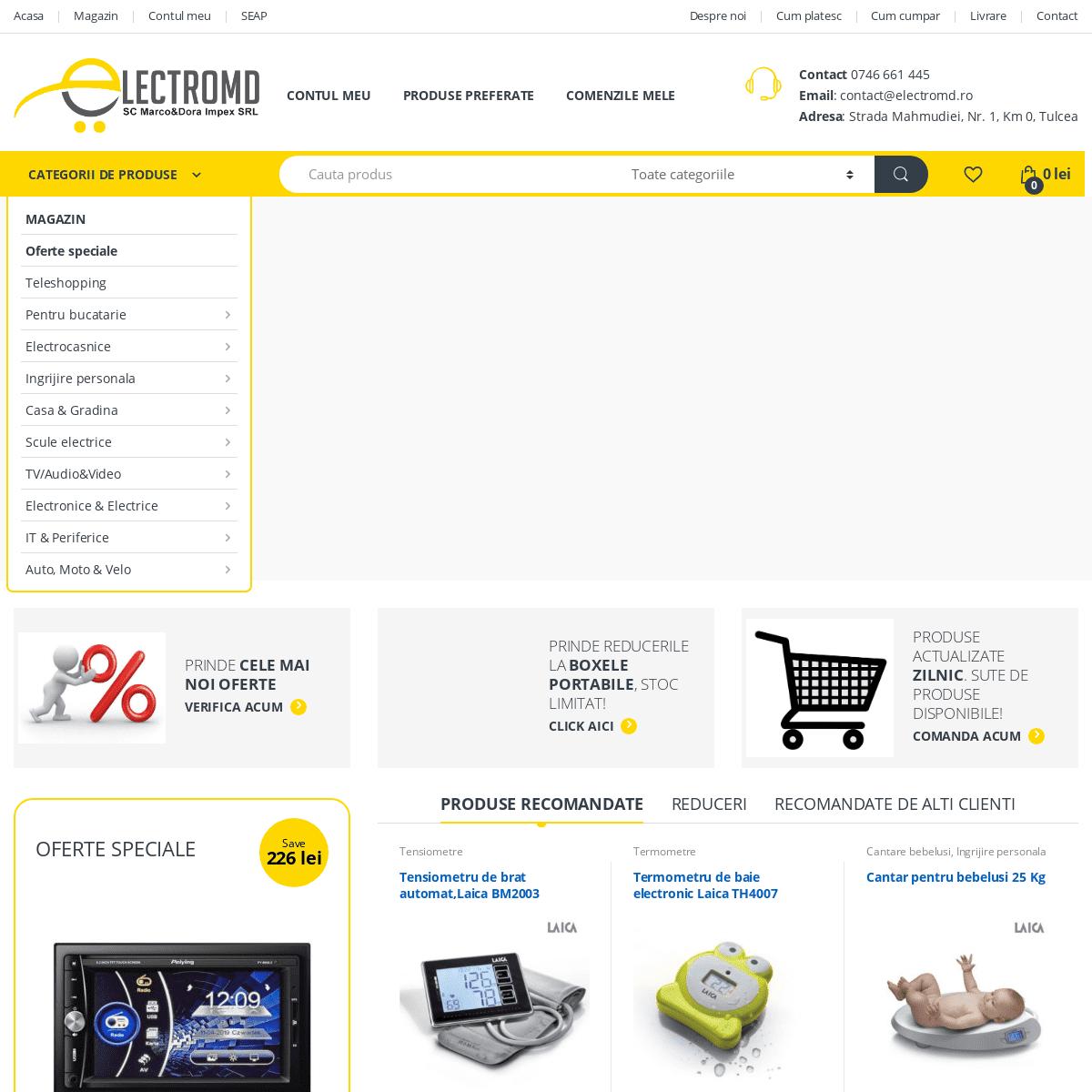 Magazin online electronice, electrocasnice, articole menaj - electromd.ro