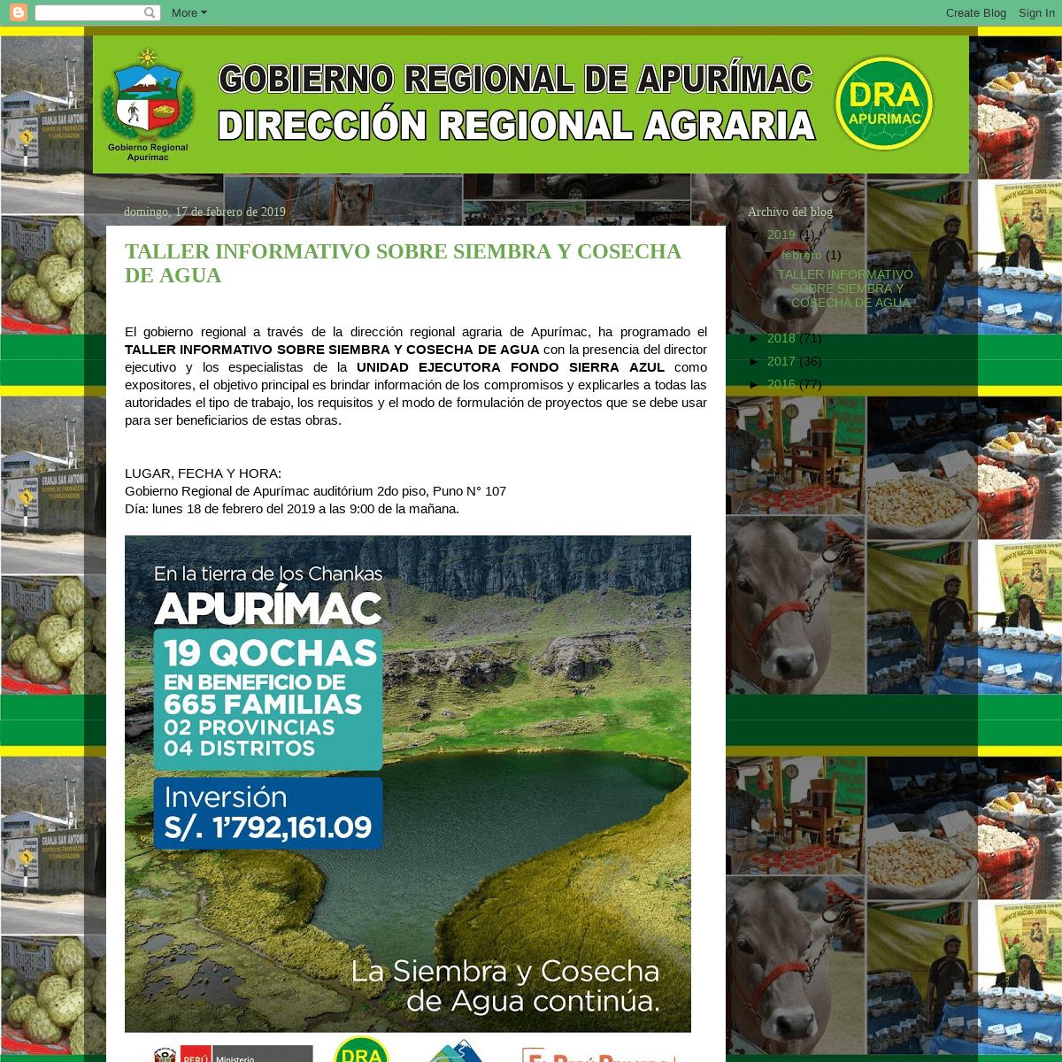 DIRECCIÓN REGIONAL AGRARIA DE APURÍMAC 2017