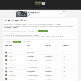 Minecraft ID List (1.14) - Minecraft Item IDs
