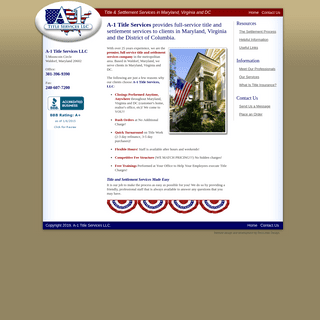 Title and Settlement Services in Maryland, Virginia and DC -- A-1 Title Services LLC