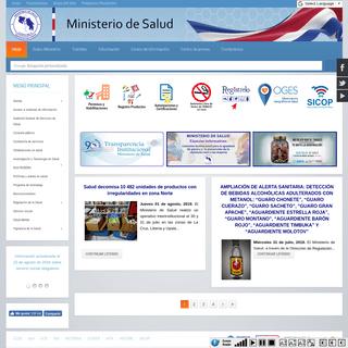 Sitio Web del Ministerio de Salud de Costa Rica. Bienvenido
