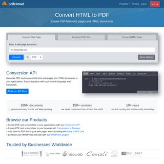 Convert HTML to PDF online, Web-HTML to PDF API