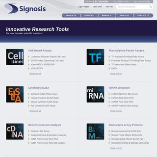 Biomarker Analysis, Plate Assay Development, Arrays, Cytokines, ELISA, EMSA, Kits, Tools