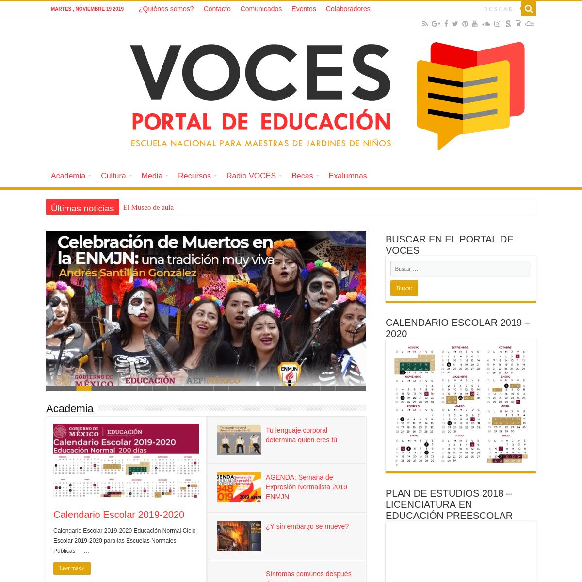 Inicio. Revista VOCES. Portal de Educación. ENMJN Página Oficial