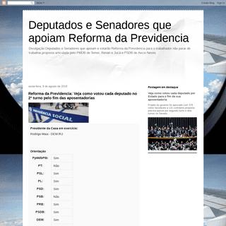 Deputados e Senadores que apoiam Reforma da Previdencia