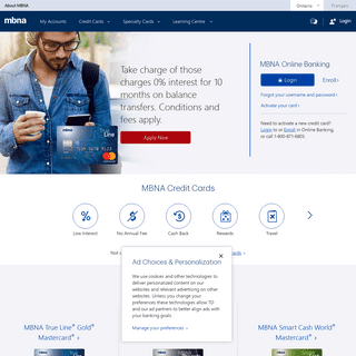 Offering both rewards credit cards with no annual fee as well as low interest credit card options - MBNA Canada