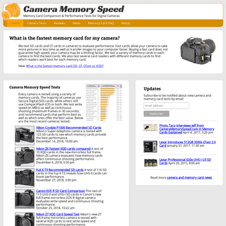 Camera Memory Speed Comparison & Performance tests for SD and CF cards