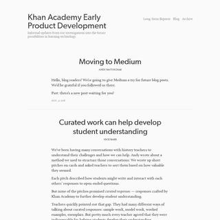 Khan Academy Early Product Development
