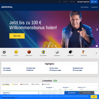 ADMIRAL Sportwetten- Online-Sportwetten mit Top-Wettquoten