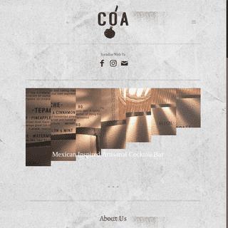 COA Hong Kong • Mexican Inspired Craft Cocktail Bar