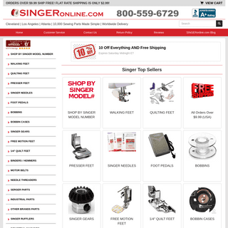 The #1 Singer Sewing Machine Parts Store on the Web
