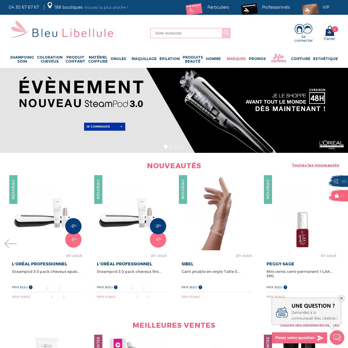 Coiffure et esthétique, produits de marques pour particuliers et professionnels- Bleu Libellule