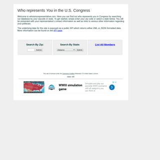 Whoismyrepresentative.com - Find Your Member of Congress by Zip Code