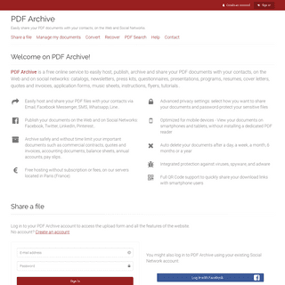 PDF Archive - Host, share, publish and archive your PDF documents
