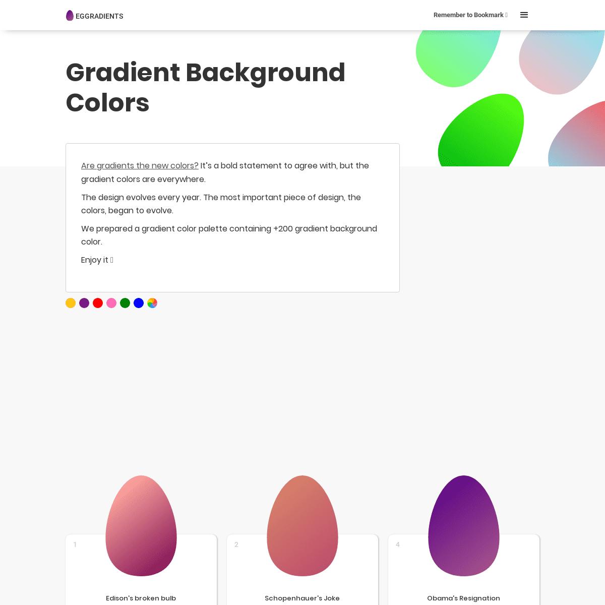 Gradient Background Colors - Eggradients.com