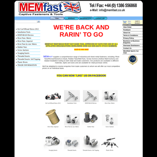 Rivet Nuts - Rivnuts - MemFast - industrial and sheet metal fasteners, tools and systems