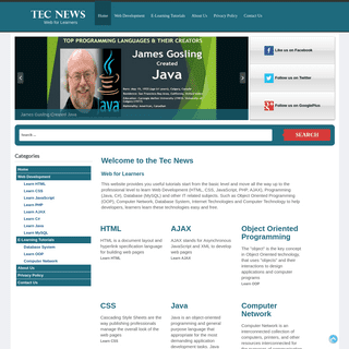 Tec News - Web for Learners - Free Online Web Tutorials