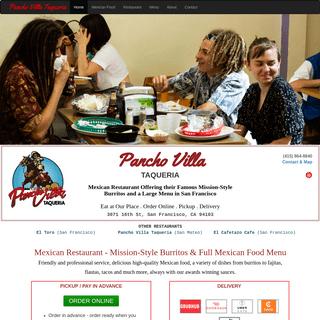 Pancho Villa Taqueria - Mexican Restaurant - San Francisco - Burritos - Tacos - Order Online - Pickup - Delivery