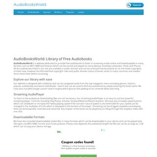 Free audiobooks library- AudioBooksWorld