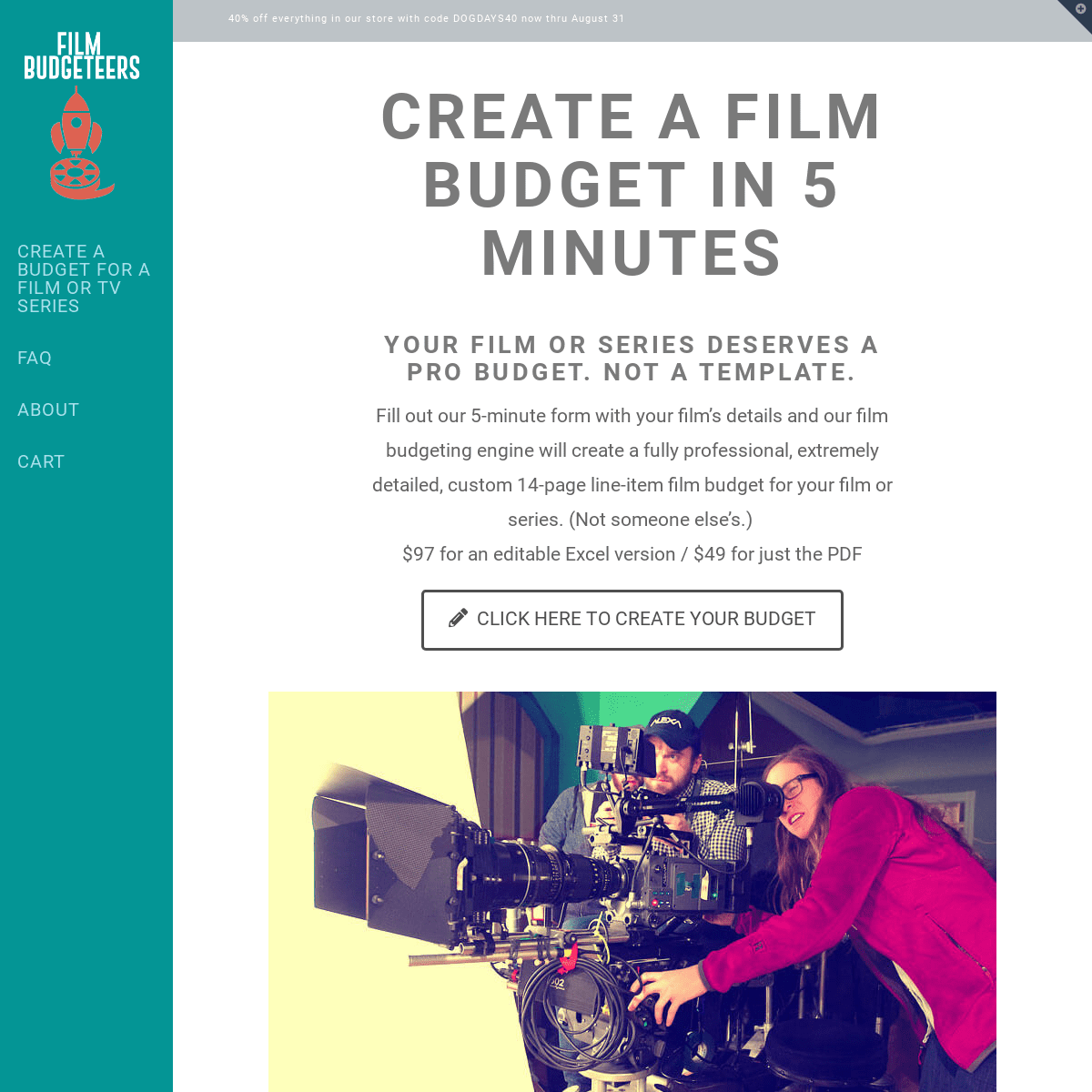 Film Budgeteers - Create a film budget for your film or series in 5 minutes