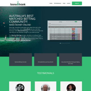 Australia's Best Matched Betting Site - Make Money Online - Bonusbank